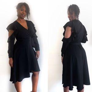 Eloquii black wrap dress with cold shoulder